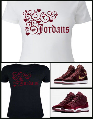 4590180e511 LADIES   WOMENS TEE SHIRT to match the NIKE JORDAN HEIRESS COLLECTION 1 OR 11  MAROON