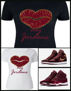 LADIES / WOMENS TEE SHIRT to match the NIKE JORDAN HEIRESS COLLECTION 1 OR 11 MAROON VELVETS!