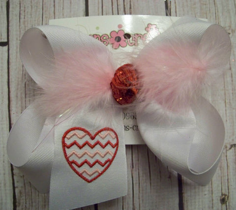 Valentine's Day Monogrammed Chevron Heart Jumbo/Large/Medium Bow
