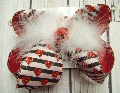 Valentine's Day Glitter Hearts/Black Stripes Large Layered Hair Bow