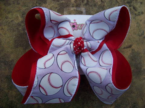 Baseball Print Jumbo Large or Medium Layered Hair Bow