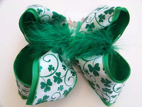 St. Patrick's Day White Small Glitter Shamrocks Jumbo Large or Medium Layered Hair Bow