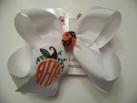 Pumpkin Frame Monogrammed Triple Initial Jumbo or Large Hair Bow