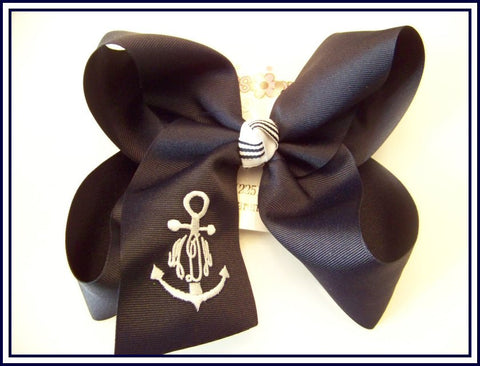 Anchor Frame Triple Script Jumbo or Large Monogrammed Hair Bow
