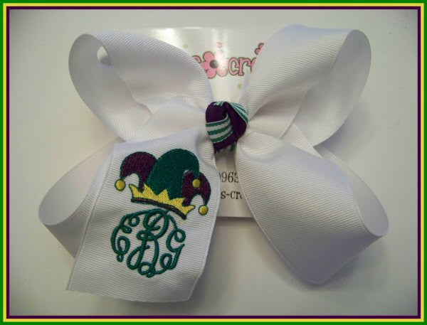 Mardi Gras Monogrammed Jester Hat Jumbo or Large Triple Initial Bow