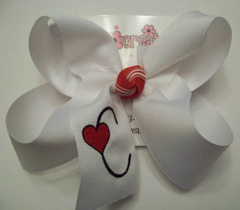 Valentine's Day Monogrammed Heart Font Single Initial Jumbo or Large Hair Bow