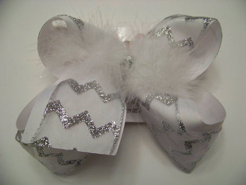 Jumbo Sheer White Glitter Chevron Layered Bow