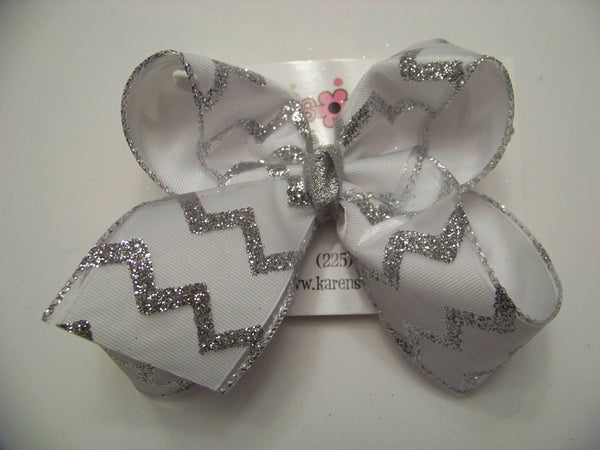 Large Sheer White Glitter Chevron Layered Bow