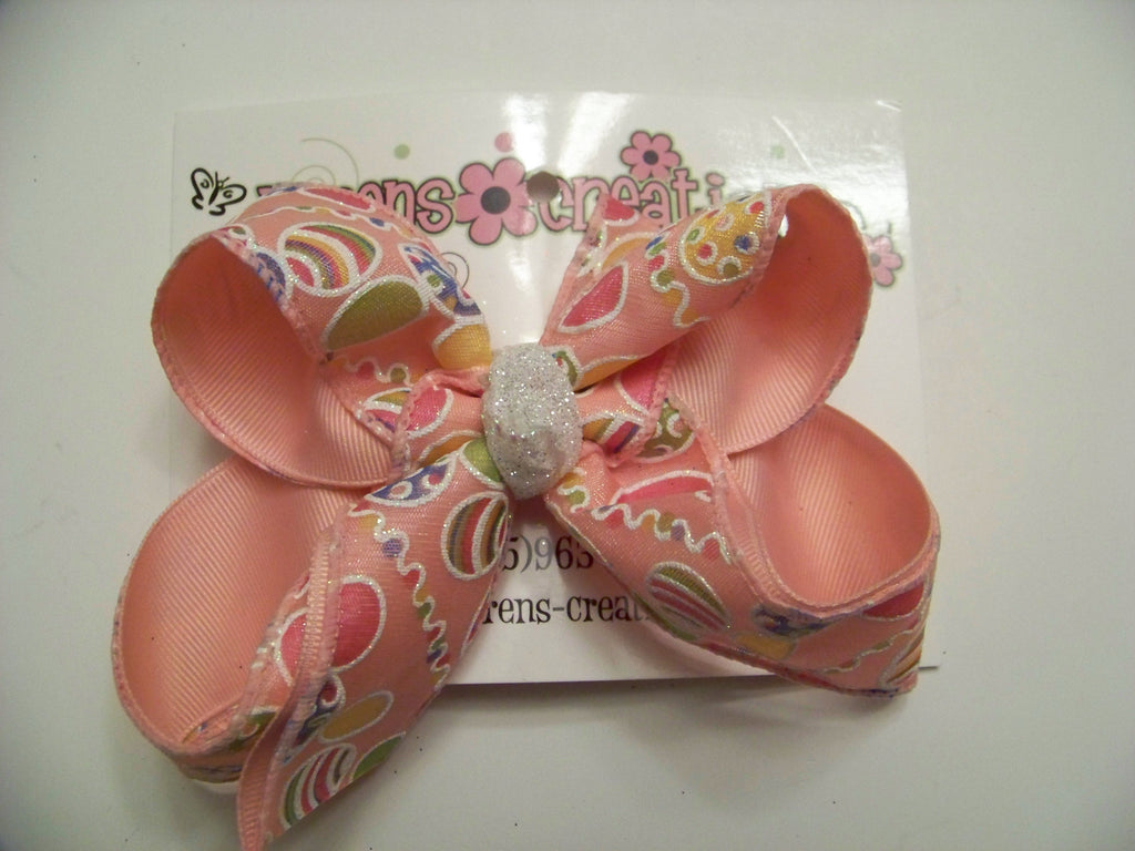 Easter Sheer Pink Glitter Eggs Medium Layered Hair Bow