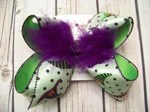 Witch Hat Polka Dots Jumbo or Large Layered Hair Bow