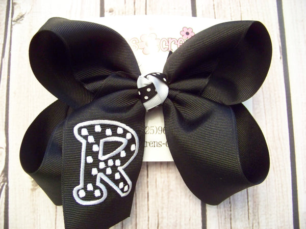Polka Dot Font Single Initial Jumbo Large or Medium Monogrammed Hair Bow