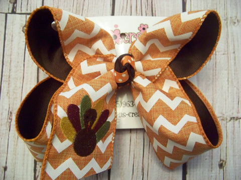 Orange Chevron Thanksgiving Turkey Monogrammed Jumbo or Large Layered Hair Bow