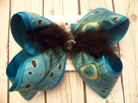 Turquoise Peacock Print Jumbo or Large Layered Hair Bow