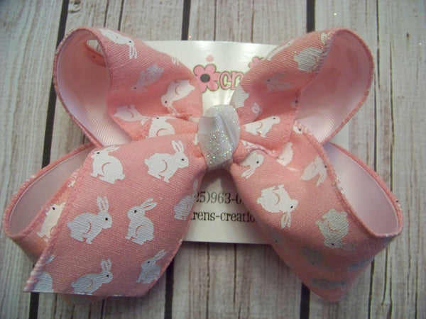 Easter Pink Small Bunnies Print Jumbo or Large Layered Hair Bow