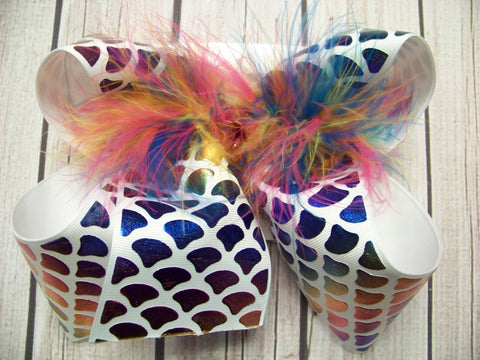 Jumbo Variegated Rainbow Foil Mermaid Scales Layered Bow