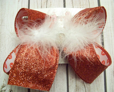 Valentine's Day Red Glitter Lips Large or Medium Layered Hair Bow