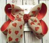 Valentine's Day Canvas w/Glitter Hearts Large Layered Hair Bow