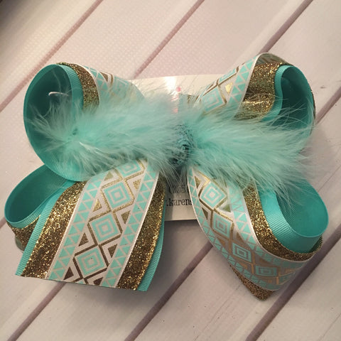 Aqua Aztec Print Gold Glitter Jumbo or Large Triple Layer Hair Bow