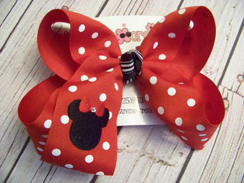 Mouse Ears Monogrammed Jumbo Large or Medium Single Layer Hair Bow