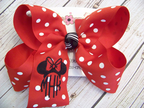 Mouse Ears Monogrammed Triple Initials Jumbo Large or Medium Hair Bow