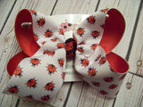 White Ladybug Print Jumbo or Large Layered Hair Bow
