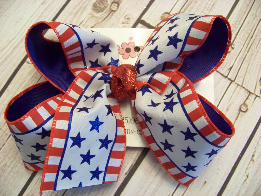 Jumbo/Large Glitter Stars and Stripes Print Layered Bow