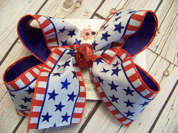 Glitter Stars and Striped Edges Jumbo or Large Layered Hair Bow