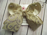 Tan Canvas Platinum Glitter Swirls Jumbo or Large Layered Hair Bow
