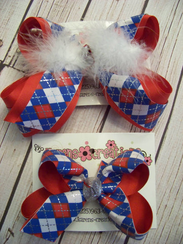 Patriotic Argyle Print Large or Medium Layered Hair Bow