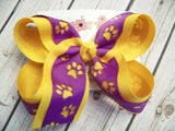 Animal Paw Print Cut Out Large Medium or Small Layered Hair Bow