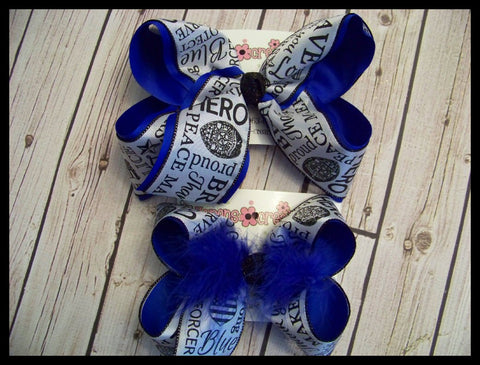Back the Blue Police Law Enforcement Support Jumbo or Large Layered Hair Bow