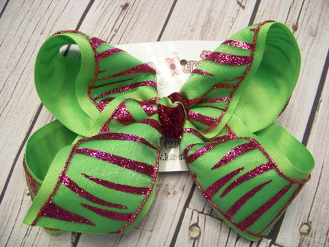 Jumbo/Large Sheer Lime Glitter Zebra Layered Bow