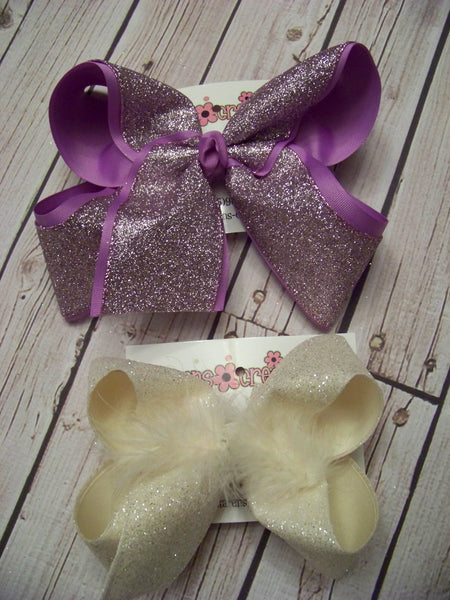 Jumbo/Large Pastel Glitter Layered Bows