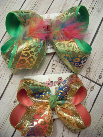 Jumbo/Large Glitter/Lame Rainbow Foil Leopard Print Triple Layered Bow