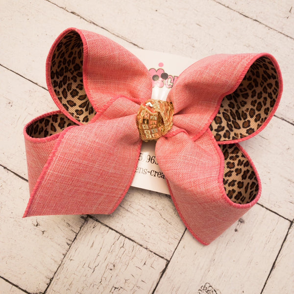 Pink Canvas/Leopard Print Jumbo or Large Layered Hair Bow