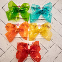 Jelly Waterproof Ribbon Large Medium or Small Single Layer Hair Bow