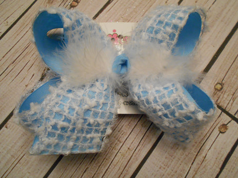 Snow Flock Large or Jumbo Layered Hair Bow