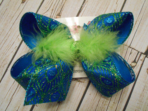 Turquoise w/Lime Glitter Peacock Design Jumbo or Large Layered Hair Bow