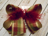 Fall Woven Check Plaid Jumbo or Large Layered Hair Bow