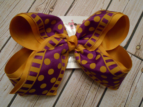 Purple/Gold Stripes/Dots LSU Themed Jumbo or Large Layered Hair Bow