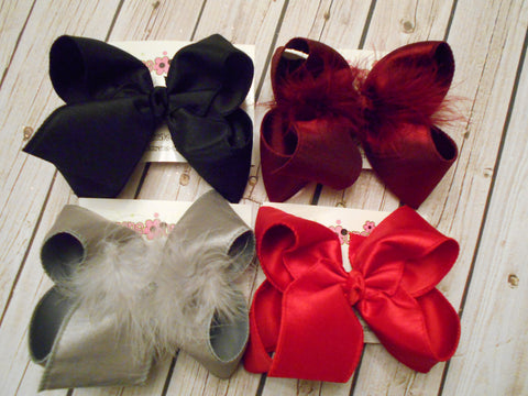 Dressy Dupioni Silk Jumbo or Large Layered Hair Bows