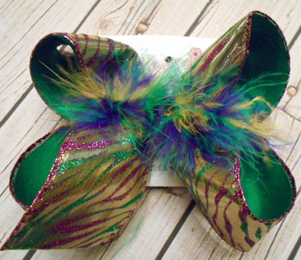 Mardi Gras Gold Lame w/Glitter Zebra Jumbo or Large Layered Hair Bow w/Feathers