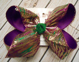 Mardi Gras Gold Lame w/Glitter Zebra Jumbo or Large Layered Hair Bow