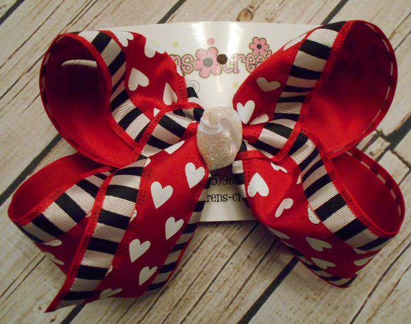 Valentine's Day Black/White Stripes w/Hearts Jumbo or Large Layered Hair Bow