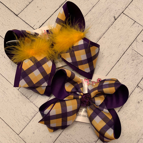 LSU Themed Purple/Yellow Gold Gingham Jumbo Large Medium or Small Layered Hair Bow