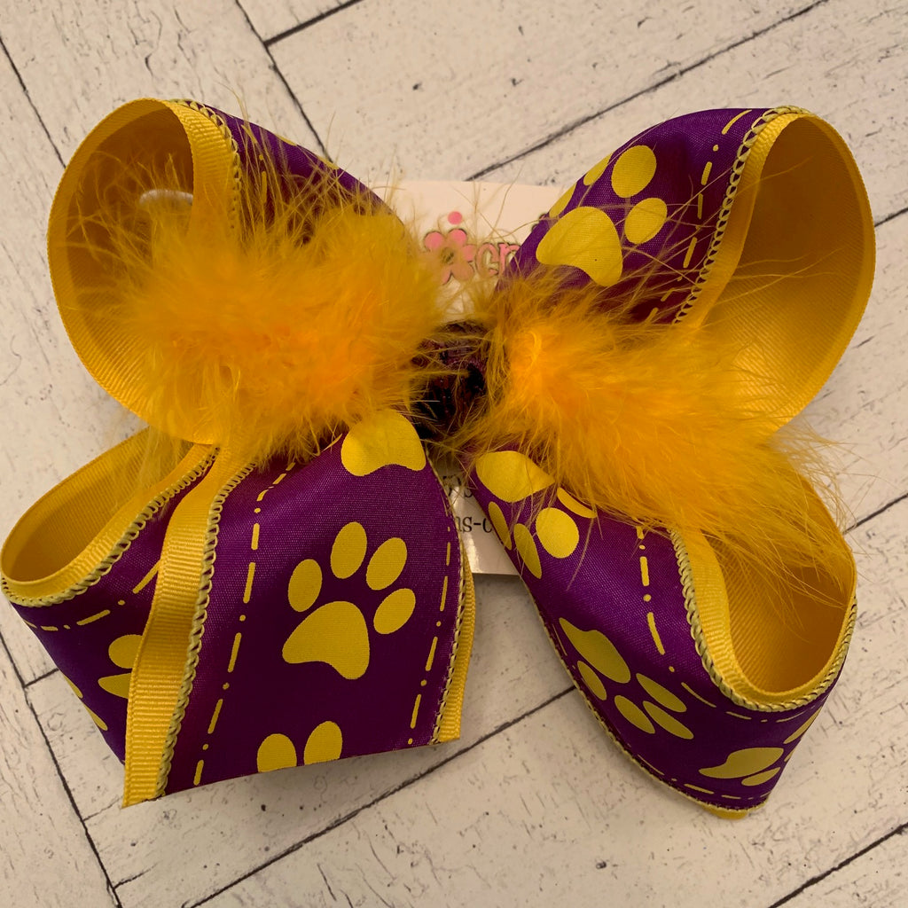 LSU Themed Purple w/Yellow Paw Prints Jumbo or Large Layered Hair Bow