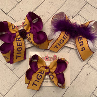 LSU Themed TIGERS print Large Medium or Small Layered Hair Bow