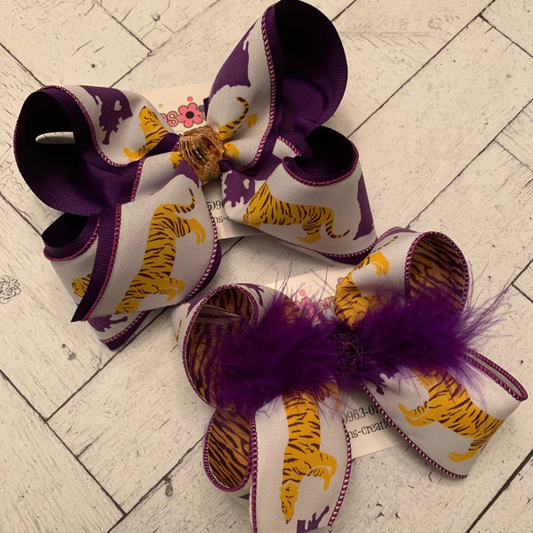 LSU Tiger/Louisiana Print Jumbo or Large Layered Hair Bow