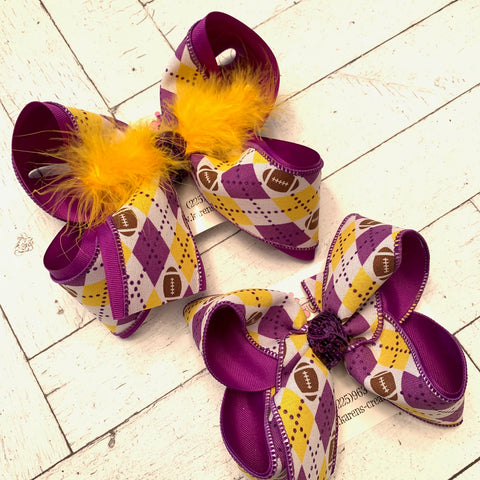 LSU Tigers Themed Argyle Print Jumbo or Large Layered Hair Bow
