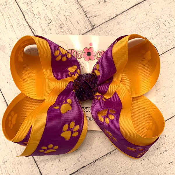 LSU Themed Purple Cut Out Paw Print Large Medium or Small Layered Hair Bow